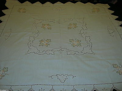 Pretty TEACLOTH TABLECLOTH Embroidered Flowers & Openwork 34 X 34in UNUSED