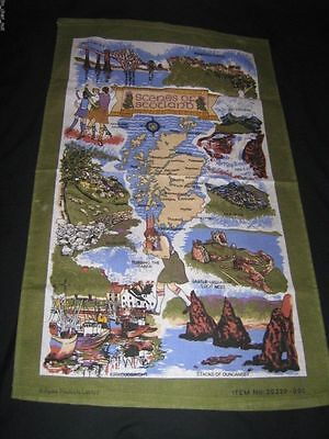 Souvenir TEA TOWEL  MAP & SCENES of SCOTLAND - Highland Dancers NWOT 29X17.5in
