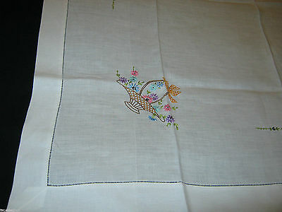 Vintage LINEN TABLECLOTH TEA CLOTH Hand Embroidery BASKETS of FLOWERS 37.75X36in