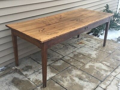 Antique French Wide Plank Farm FARMHOUSE Kitchen Dining TABLE Desk w/ Drawer