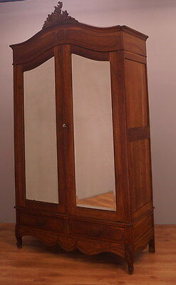 1236 !! Stunning French Oak Wardrobe/armoire In Rocailie Style !!