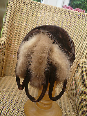 1930's velvet pretty hat with real mink detail Ideal wedding lined pretty
