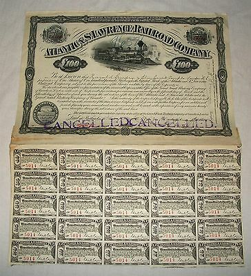 Vintage Atlantic & St.Lawrence Railroad Company Stock Certificate 1910