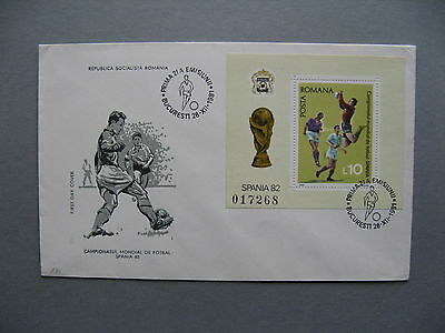 ROMANIA, cover FDC 1981, S/S WC soccer football Spain