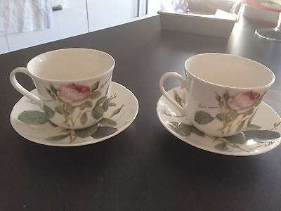 Pair of Roy Kirkham Redoute Roses Large Breakfast Tea Cups and Saucers.
