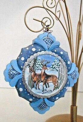 """G DeBrekht Derevo Two Deer Resin Ornament- Hand crafted  5 1/2"""" x 3 1/2"""" x 1/2"""""""