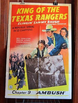 1941 KING OF THE TEXAS RANGERS Ch 9 ONE-SHEET Movie Poster SLINGIN' SAMMY BAUGH