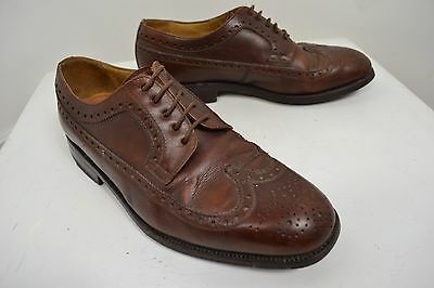 Vintage John & Ashley Brogues English Made Brown Lace Up Shoes Size 7.5