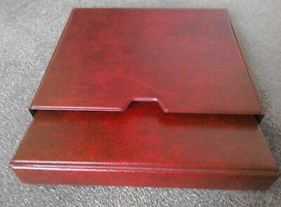 "QUALITY RED FIRST DAY COVER ALBUM WITH SLIP CASE - Leaves 12 (48)  8.5"" x 4.5"""