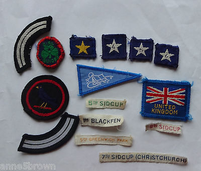 15 Uk Girl Guide Assorted Cloth Badges/patches & Name Tapes