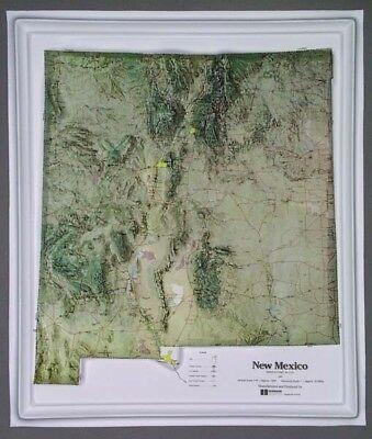 New Mexico State Raised Relief Map - Natural Color Relief Style