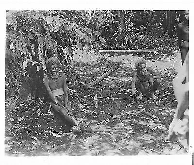 WWII Photo New Hebrides 1944 Two Cannibals Natives Seabee Navy Military Vanuatu
