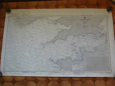 English Channel Soundings in Fathoms Navigation Chart 80cm x 130cm 1985