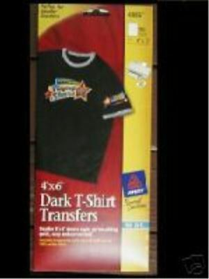 Avery 4385 Dark T Shirt Transfers Iron On Transfers 4 x 6 size 10 SHEETS