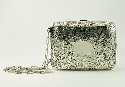 Antique Sterling Silver Floral Filigree Compact Mirror Coin Slot Purse Case
