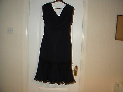 Ladies Karida Black Polyester Lined Sleeveless Dress, Size 14