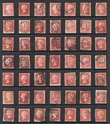 1864-79 GB Victorian 1d PENNY RED PLATES ACCUMULATION 49 Stamps USED Re:QE135