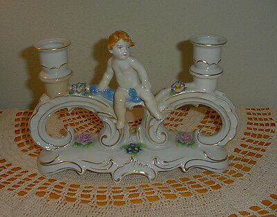 Von Schierholz Germany Porcelain Angel Cherub Double Candle Holder/Candlestick