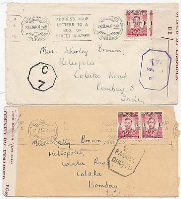 1943/4 2 Southern Rhodesia Bulawayo To Bombay India Censors & Opened By Examiner