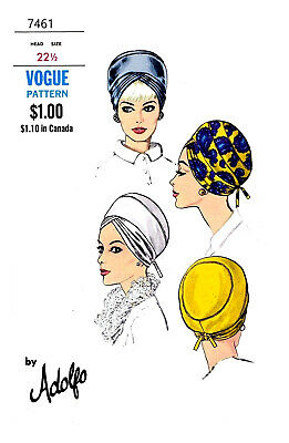 Vogue Millinery Designer Adolfo Turban Fabric material sewing pattern #7461