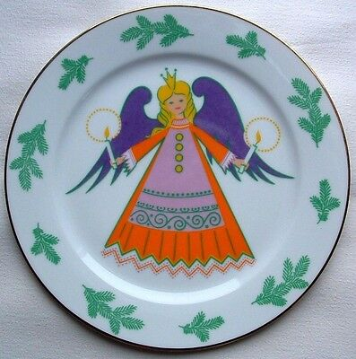 "Vtg HEINRICH Christmas PLATE 9.5"" ANGEL Purple Wings Crown Candles Gold GERMANY"
