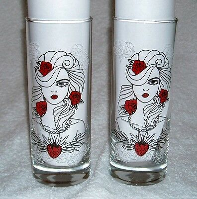 2 New Naughty Never Tasted So Nice Tequila Rose Strawberry Cream Tall Glasses