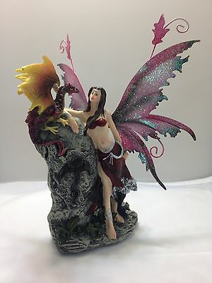Fairy with Dragon on Mythic Stone  Legends of Avalon Figurine Metal Wings FYP23