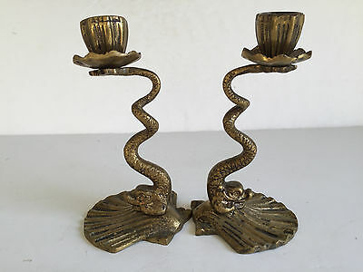 Pair Vintage Japanese Brass Dolphin Head Shell Base Candlesticks Candle Holders