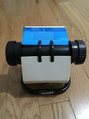 """Vintage Black Rolodex 5024X Rotary Index Card File 2 1/4"""" X 4"""" Cards!"""