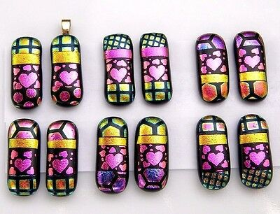 HEART For dangle earrings Lot 12 pcs pendant DICHROIC FUSED GLASS (B9) CAB