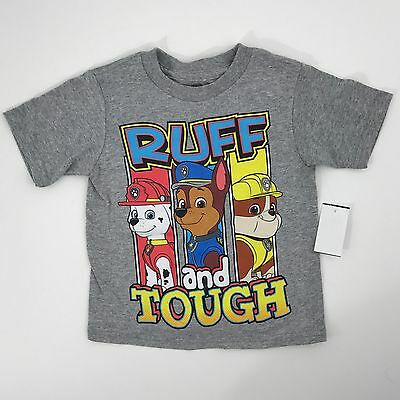 Paw Patrol Rough & Tough Heather Gray T-shirt Chase Marshall & Rubble Size 2T