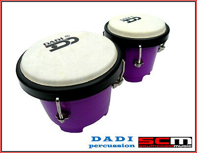 "Dadi 4½"" & 5"" Purple Mini Bongo Drums Tuneable Natural Skins Plastic Shells New"