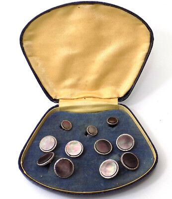 Vintage 9 pc Abalone Tuxedo Studs Cuff links Original Box