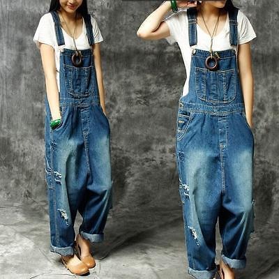 Womens Vintage Ripped Holes Denims Casual Jumpsuits Trousers Suspender Overalls