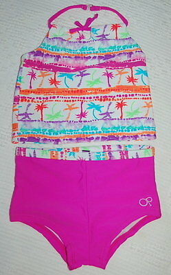 INFANT Toddler SWIMSUIT Girls Tankini HOT PINK PALM TREES 24mo Ocean Pacific