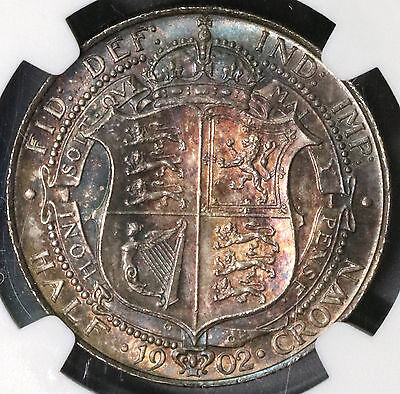 1902 NGC MS 63 Edward VII 1/2 Crown GREAT BRITAIN Coin (16040503D)