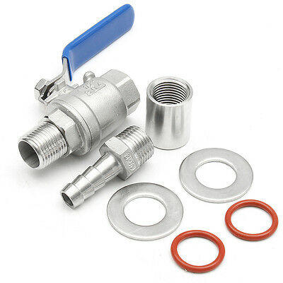 "1/2"" Barb Pipe Stainless Steel Weldless Ball Valve Compact Homebrew Kettle Kit"