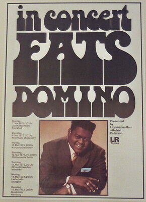 Fats Domino Concert Tour Poster 1973 When My Dreamcoat Comes Home Kieser