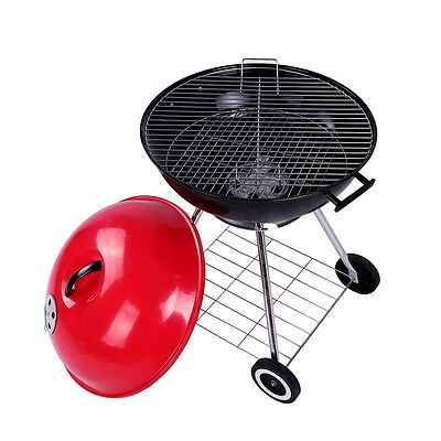 New Portable Black Trolley BBQ Grill Charcoal Barbecue Wood Barbeque Picnic