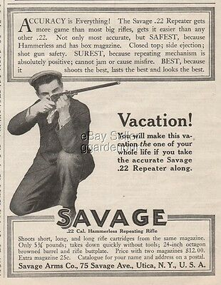 1909 Savage Arms Co Utica New York .22 Hammerless Repeater Rifle Vintage Gun Ad