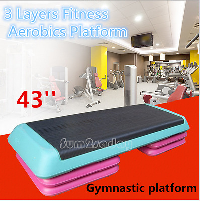 3 Layers Deluxe Adjustable Gym Aerobic Step Platform Board/Exercise/Fitness Step