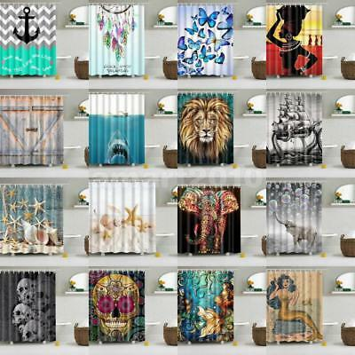 Fabric Waterproof Bathroom Shower Curtain Divider Panel With 12 Hooks Set PICK