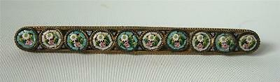 Antique Tiny Micro Mosaic Tessae Floral Pastel Bar Brooch Pin  Italy 2 1/4""