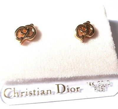 Christian Dior Post Earrings Monogram Hallmark  Gold Plated w/14K Posts New
