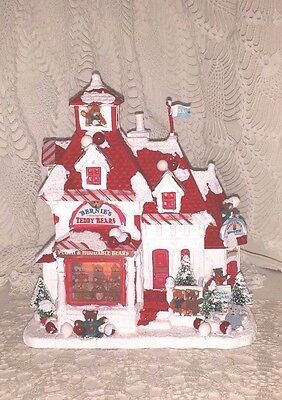 Christmas House Bears Red And White Bear Christmas House Repainted Ooak Electric