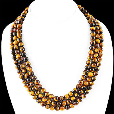 627.45 Cts Natural 3 Line Rich Golden Tiger Eye Round Beads Necklace Strand