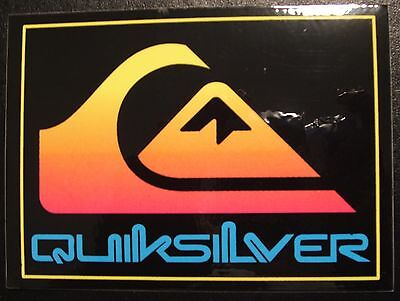 Quiksilver Sticker Yello Fade To Pink Symbol With Blue Text Surf