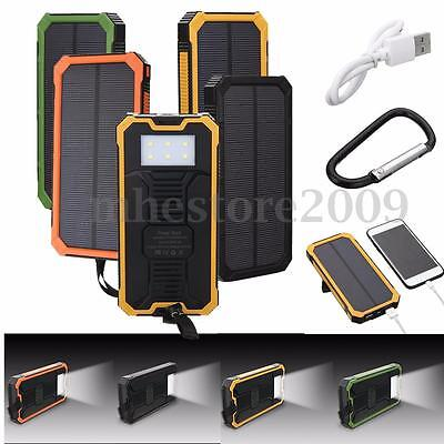 100000mAh Portable External Battery Solar Power Bank Dual USB Charger For Phones