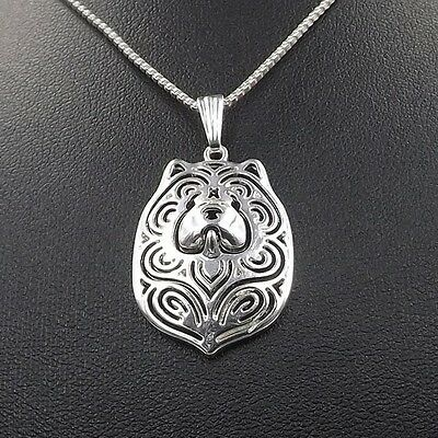 Chow Chow  3D Silver pendant necklace dog collectible N120