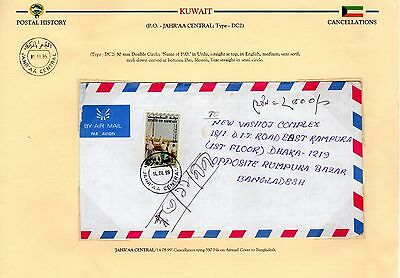 KUWAIT 1970's-90's PART OF POSTAL HISTORY COLLECTION OF 12 ON EXHIBITION PAGES
